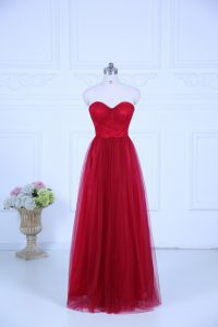 Sweetheart Sleeveless Vestidos de Damas Floor Length Ruching Wine Red Tulle