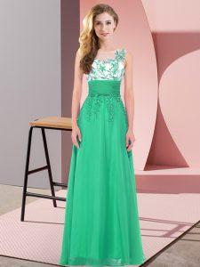 Cute Turquoise Backless Quinceanera Dama Dress Appliques Sleeveless Floor Length