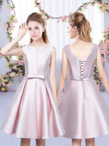 Extravagant V-neck Sleeveless Satin Quinceanera Court of Honor Dress Bowknot Lace Up