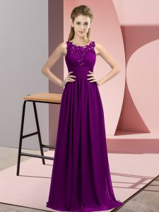 Exceptional Purple Sleeveless Beading and Appliques Floor Length Dama Dress