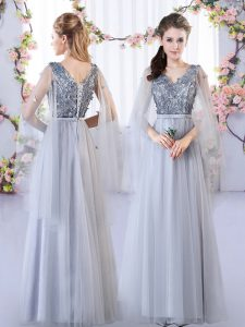 Grey Lace Up V-neck Appliques Quinceanera Dama Dress Tulle Sleeveless