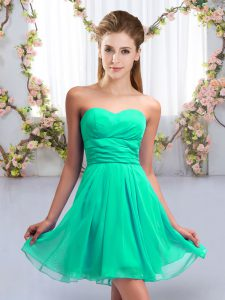 Turquoise Empire Chiffon Sweetheart Sleeveless Ruching Mini Length Lace Up Court Dresses for Sweet 16