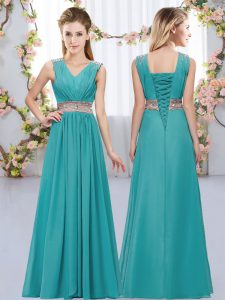 Sleeveless Floor Length Beading and Belt Lace Up Quinceanera Court Dresses with Teal