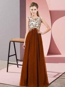 Top Selling Sleeveless Chiffon Floor Length Zipper Quinceanera Court of Honor Dress in Brown with Beading and Appliques