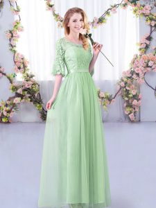 Exceptional Apple Green Empire Scoop Half Sleeves Tulle Floor Length Side Zipper Lace and Belt Vestidos de Damas