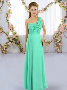 Glorious Floor Length Turquoise Quinceanera Dama Dress One Shoulder Sleeveless Lace Up