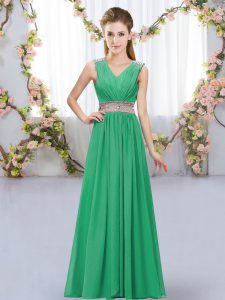 High Class Floor Length Lace Up Dama Dress for Quinceanera Turquoise for Wedding Party with Beading and Belt