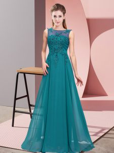Inexpensive Teal Sleeveless Beading and Appliques Floor Length Quinceanera Court of Honor Dress
