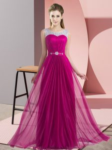 Fantastic Beading Dama Dress for Quinceanera Fuchsia Lace Up Sleeveless Floor Length