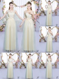 Champagne Scoop Neckline Lace and Bowknot Quinceanera Court Dresses Sleeveless Lace Up