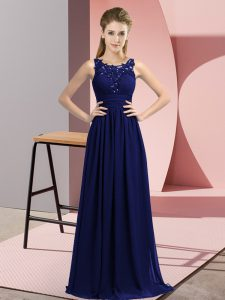 Free and Easy Navy Blue Chiffon Zipper Scoop Sleeveless Floor Length Damas Dress Beading and Appliques