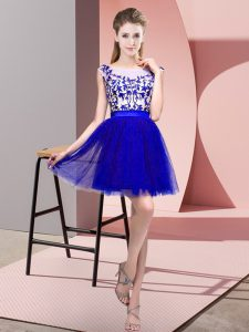 Smart Blue Zipper Bateau Lace Court Dresses for Sweet 16 Tulle Sleeveless