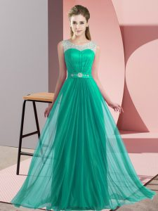 Fancy Turquoise Sleeveless Chiffon Lace Up Court Dresses for Sweet 16 for Wedding Party