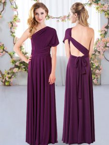 Fitting Dark Purple Damas Dress Wedding Party with Ruching One Shoulder Sleeveless Criss Cross
