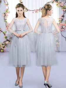 Tea Length Grey Dama Dress for Quinceanera Scoop Sleeveless Lace Up