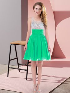 Sexy Turquoise Chiffon Side Zipper Scoop Sleeveless Mini Length Court Dresses for Sweet 16 Beading