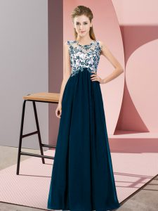 Empire Court Dresses for Sweet 16 Navy Blue Scoop Chiffon Sleeveless Floor Length Zipper