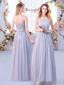 Comfortable Grey Sleeveless Lace and Belt Floor Length Quinceanera Court of Honor Dress