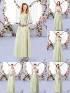 Yellow Green Half Sleeves Tulle Side Zipper Quinceanera Court of Honor Dress for Wedding Party
