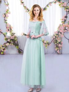 Light Blue Empire Lace and Belt Vestidos de Damas Side Zipper Tulle Half Sleeves Floor Length