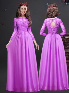 Excellent Floor Length Empire Long Sleeves Lilac Court Dresses for Sweet 16 Lace Up