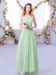 Great Apple Green Vestidos de Damas Wedding Party with Lace and Belt Scoop Sleeveless Side Zipper