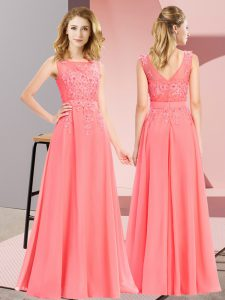 Watermelon Red Chiffon Zipper Vestidos de Damas Sleeveless Floor Length Beading and Appliques