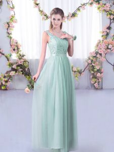 Luxury Sleeveless Floor Length Lace and Belt Side Zipper Damas Dress with Light Blue