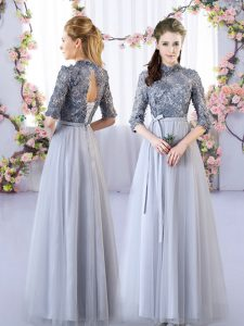 Luxurious Grey Lace Up High-neck Appliques Court Dresses for Sweet 16 Tulle Half Sleeves