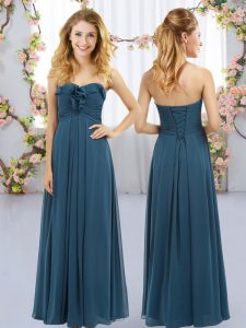 Suitable Navy Blue Chiffon Lace Up Sweetheart Sleeveless Floor Length Dama Dress Ruffles