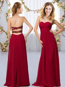 Floor Length Criss Cross Vestidos de Damas Wine Red for Wedding Party with Beading