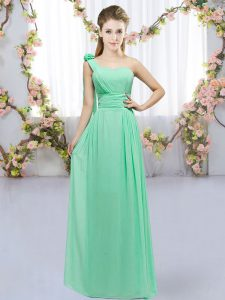 Chiffon Sleeveless Floor Length Quinceanera Court Dresses and Hand Made Flower