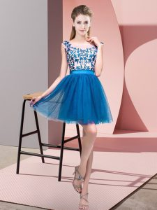 Mini Length Zipper Dama Dress for Quinceanera Blue for Wedding Party with Lace