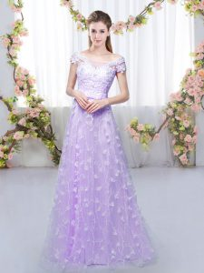 Free and Easy Empire Dama Dress for Quinceanera Lavender Off The Shoulder Tulle Cap Sleeves Floor Length Lace Up