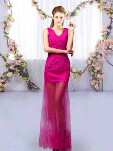 Spectacular Column/Sheath Quinceanera Court of Honor Dress Fuchsia V-neck Tulle Sleeveless Floor Length Lace Up