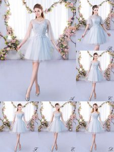 Charming Mini Length Grey Quinceanera Dama Dress Tulle 3 4 Length Sleeve Lace