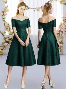 Noble Off The Shoulder Short Sleeves Dama Dress Tea Length Belt Dark Green Lace