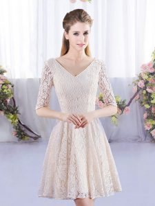 Lace Dama Dress for Quinceanera Champagne Lace Up Half Sleeves Mini Length