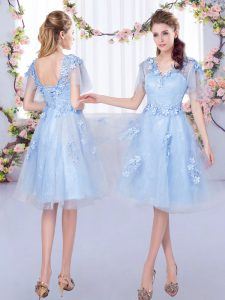 High Class Light Blue Tulle Lace Up Damas Dress Short Sleeves Knee Length Appliques