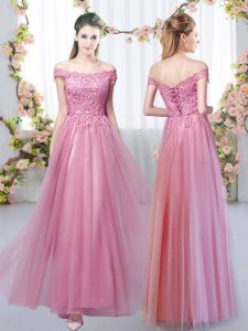 Dazzling Sleeveless Lace Up Floor Length Lace Quinceanera Court of Honor Dress