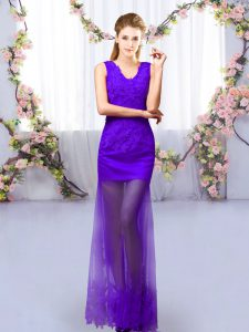 Comfortable Floor Length Column/Sheath Sleeveless Purple Dama Dress for Quinceanera Lace Up