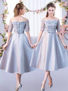 9d44301585e Shining A-line Vestidos de Damas Silver Off The Shoulder Satin Half Sleeves  Tea Length