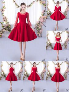 Satin Scoop 3 4 Length Sleeve Zipper Ruching Quinceanera Court Dresses in Red