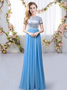 Best Blue Empire Scoop Short Sleeves Chiffon Floor Length Zipper Sequins Quinceanera Court Dresses