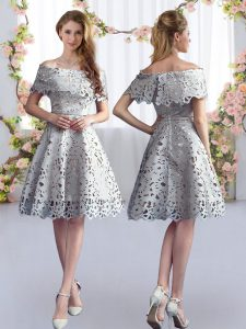 High End Grey Short Sleeves Knee Length Lace Zipper Vestidos de Damas