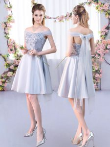 Knee Length Silver Quinceanera Court Dresses Off The Shoulder Sleeveless Lace Up