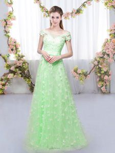 Luxurious Floor Length Quinceanera Court of Honor Dress Tulle Cap Sleeves Appliques