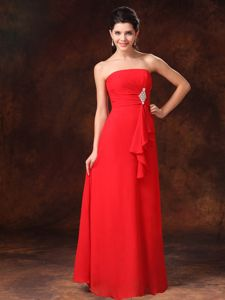 Strapless Red Empire Quince Dama Dresses with Center Accented