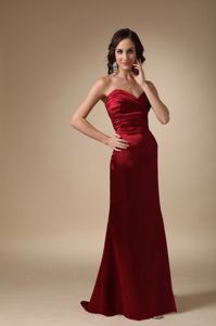 Wine Red Sweetheart Brush Train Damas Dresses with Corset Back