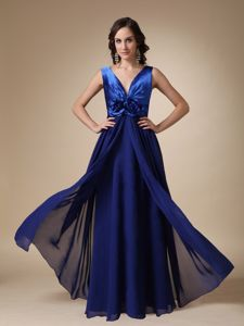 Royal Blue Empire V-neck Dama Dress For Quinceaneras in Autumn
